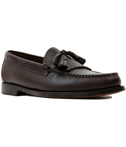 bass weejuns layton pull up leather loafers brown