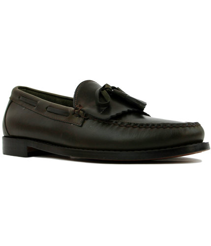 bass weejuns layton pull up leather loafers green