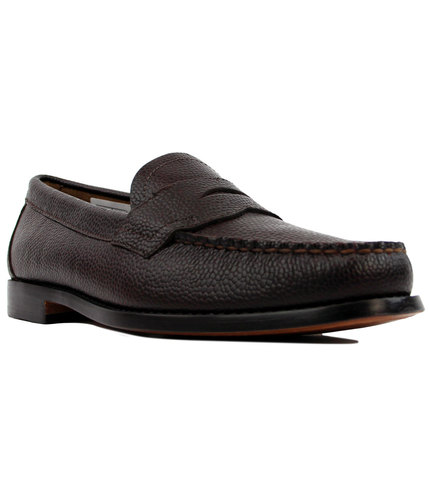 bass weejuns logan grain retro mod loafers brown