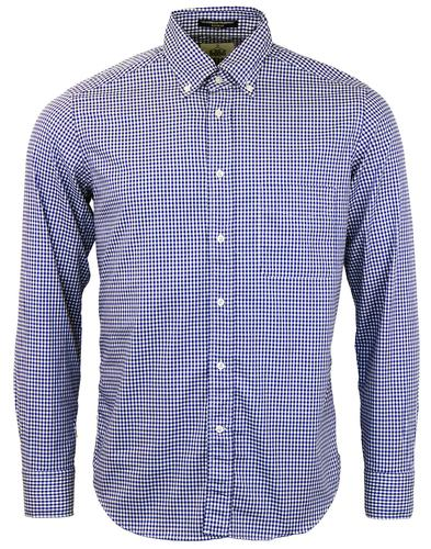 BD BAGGIES RETRO 60s MOD GINGHAM CHECK SHIRT BLUE