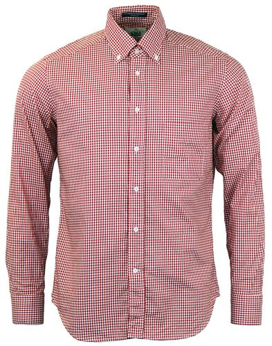 BD BAGGIES RETRO 60s MOD GINGHAM CHECK SHIRT RED