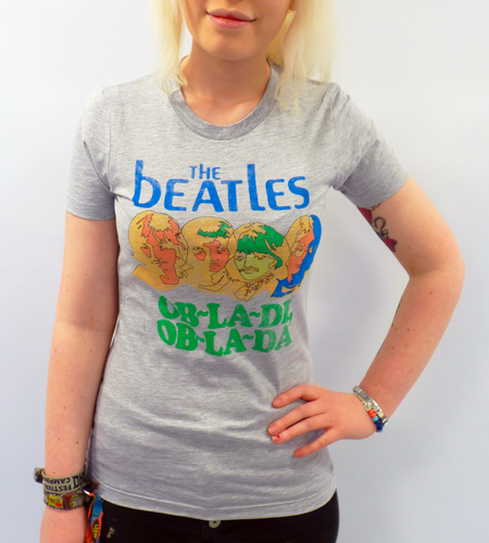 WOMENS BEATLES T-SHIRT OB LA DI TSHIRT 60S BEATLES