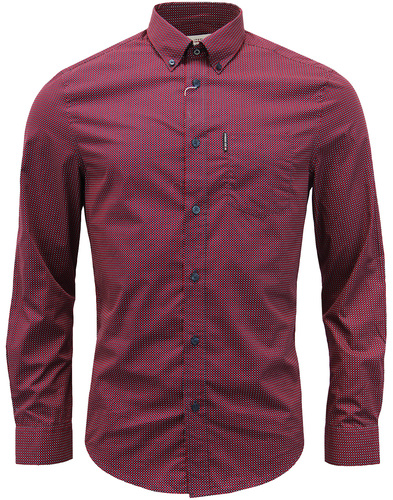 ben sherman micro square geo shirt red