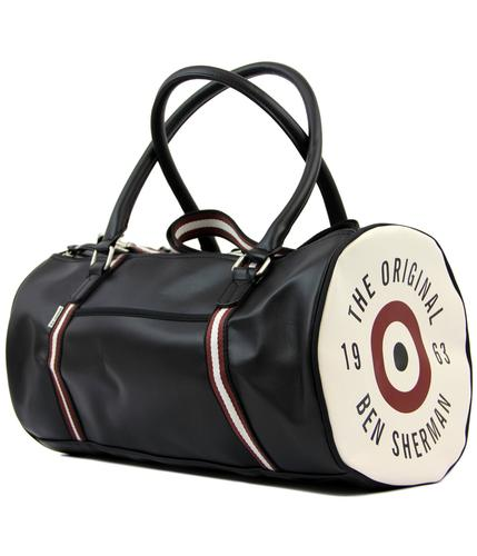 ben sherman retro 60s mod target barrel bag black