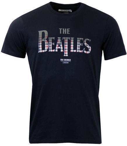 ben sherman beatles gingham logo retro mod t-shirt