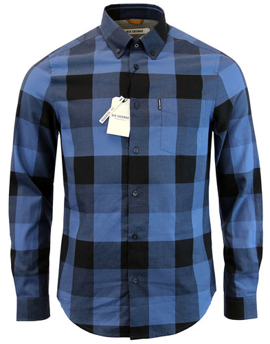 ben sherman retro 1960s mod block check shirt blue