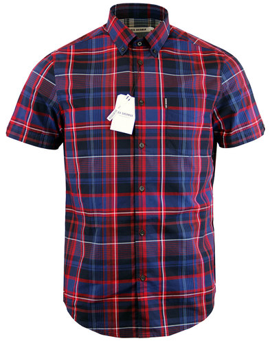 BEN SHERMAN Retro Mod Short Sleeve Check Shirt RED