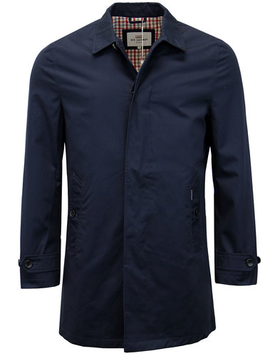 BEN SHERMAN Men's 1960s Mod Cotton Mac Coat NAVY