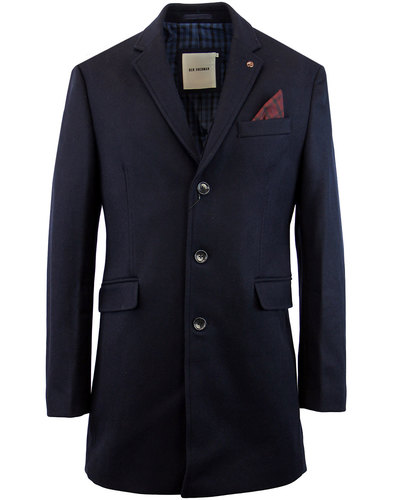 ben sherman retro 1960s mod wool blend covert coat