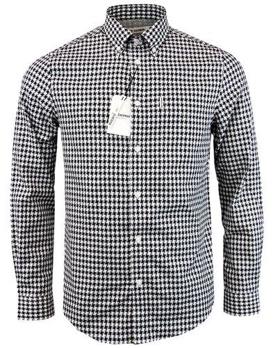 BEN SHERMAN Retro 60s Mod Dogtooth Gingham Shirt