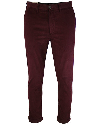 ben sherman retro 60s mod cord trousers burnt red