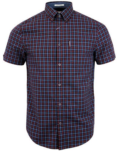 BEN SHERMAN 60s Mod House Gingham Shirt DARK PLUM