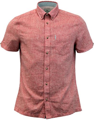 BEN SHERMAN 1960s Short Sleeve Linen Shirt RED