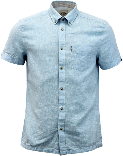 BEN SHERMAN 1960s Short Sleeve Linen Shirt SKY