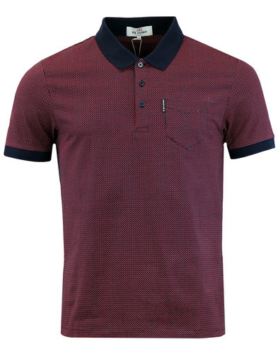 ben sherman mod micro square polka dot polo navy