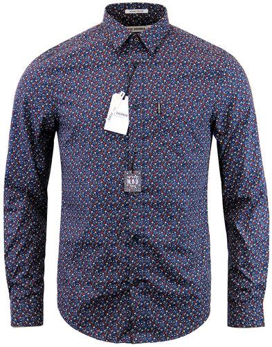 ben sherman retro 60s mod micro floral shirt blue