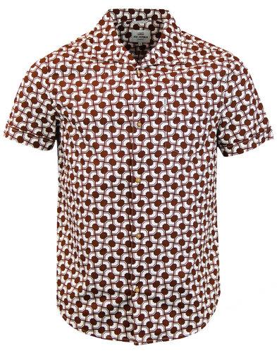 ben sherman retro mod geo op art hawaiian shirt