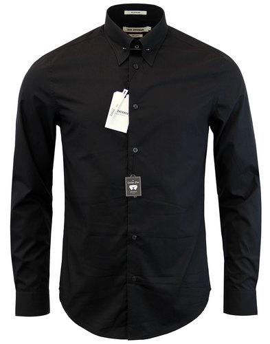 BEN SHERMAN Retro 1960s Mod Pin Collar Shirt BLACK