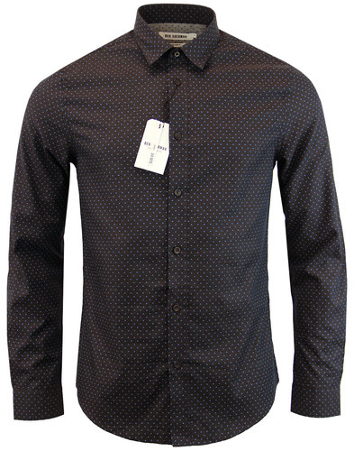 ben sherman mod herringbone polka dot shirt brown