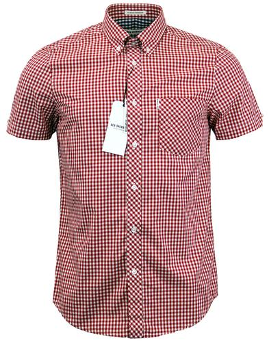 ben-sherman-mod-gingham-short-sleeve-shirt-red