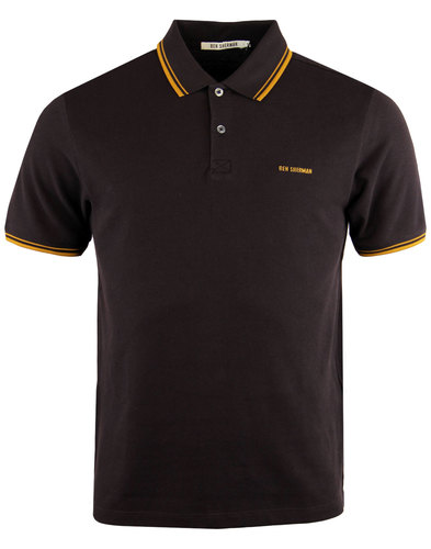 ben sherman romford block retro mod polo top brown