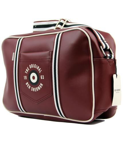ben sherman retro 60s mod airline shoulder bag red