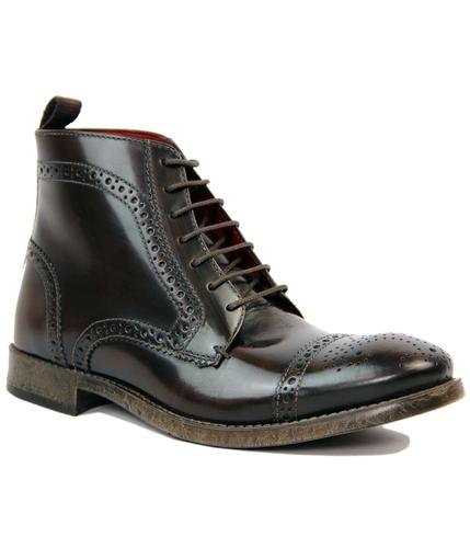 Sunbeam BASE LONDON Mod High Shine Brogue Boots