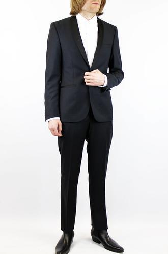 BEN SHERMAN Retro Shawl Lapel Tonal Gingham Suit