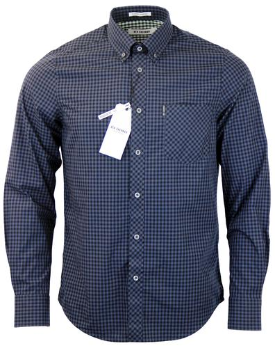 BEN SHERMAN RETRO MOD 60S GINGHAM SHIRT PHANTOM