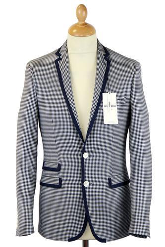 BEN SHERMAN Tailoring 60s Mod Gingham Piped Blazer
