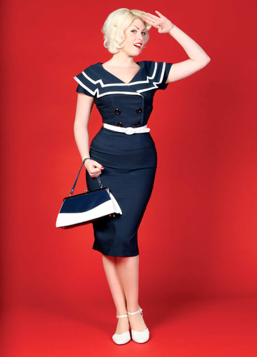 BETTIE PAGE CAPTAIN PENCIL DRESS BLUE 50s VINTAGE