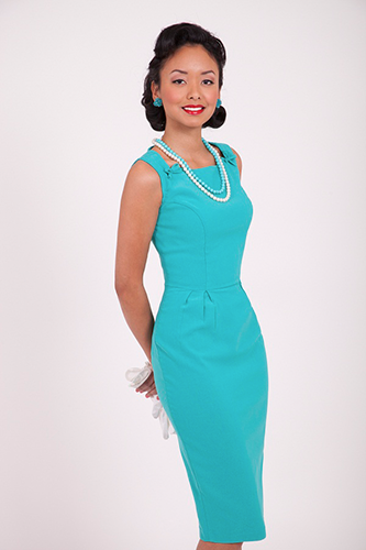 BETTIE PAGE JOY DRESS TURQUOISE RETRO VINTAGE 50S