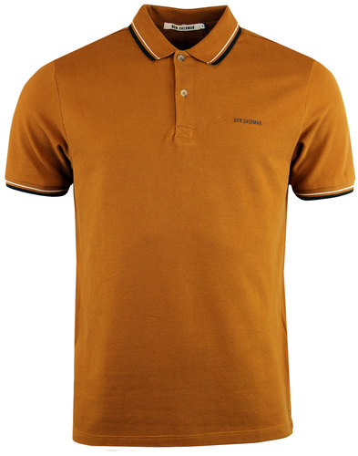 ben sherman romford block retro mod polo top gold