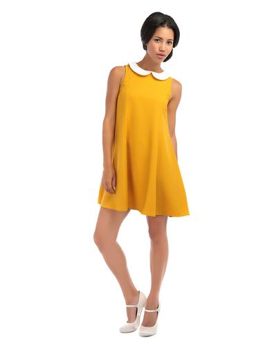 BRIGHT & BEAUTIFUL RETRO 60s MOD DOLL DRESS MUSTAR