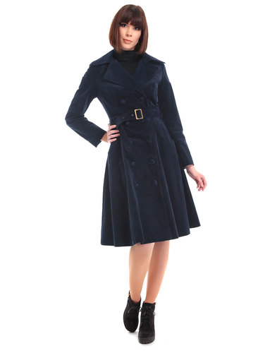 Bright & Beautiful retro 70s womens cord coat navy