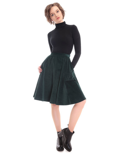Bright and Beautiful Tia Cord Retro Skirt Green