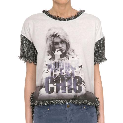 Fabiola BRIGITTE BARDOT Retro Tweed Printed Top