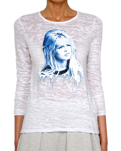 BRIGITTE BARDOT RETRO BURN OUT T-SHIRT PRINT