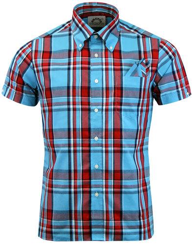 brutus trimfit mod heritage light blue check shirt
