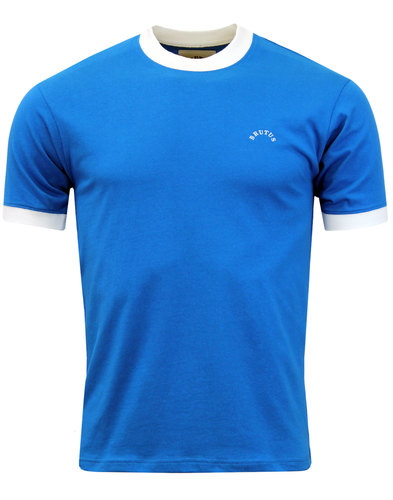 BRUTUS Mens Retro 70s Crew Ringer T-Shirt BLUE