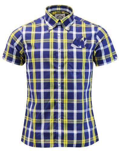 BRUTUS TRIMFIT Mod Check Short Sleeve Shirt BLUE