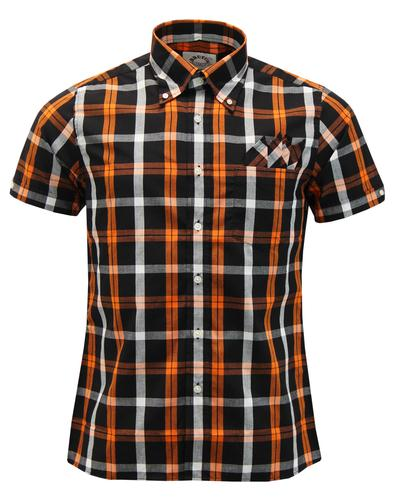 BRUTUS TRIMFIT Mod Check Short Sleeve Shirt ORANGE