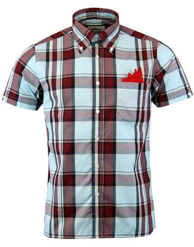 brutus trimfit retro mod claret sky tartan shirt