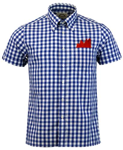 BRUTUS TRIMFIT GINGHAM RETRO MOD SHIRT BLUE