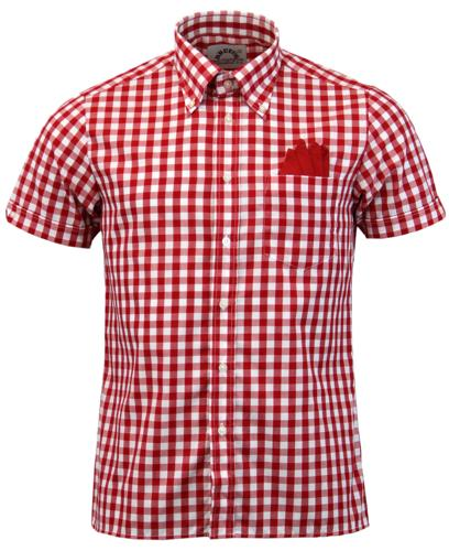 BRUTUS TRIMFIT GINGHAM RETRO MOD SHIRT RED