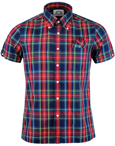 BRUTUS TRIMFIT Heritage Check Retro Mod Shirt NAVY