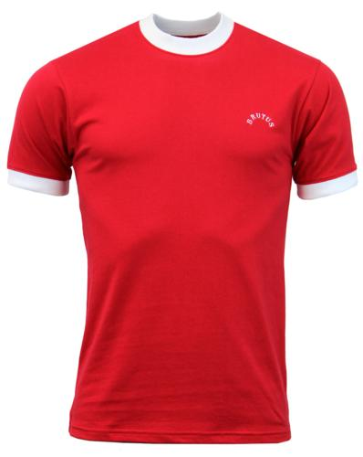 BRUTUS TRIMFIT RETRO MOD 70s RINGER T-SHIRT RED