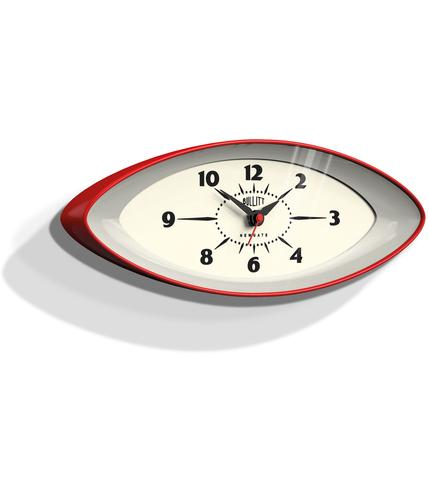 NEWGATE BULLIT RETRO 60s SPACE AGE WALL CLOCK RED