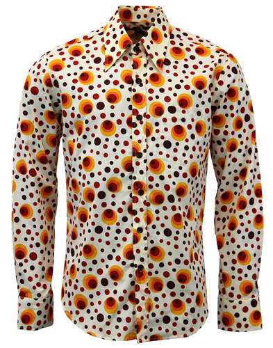 CHENASKI RETRO SEVENTIES SHIRTS DOTS SHIRT ORANGE