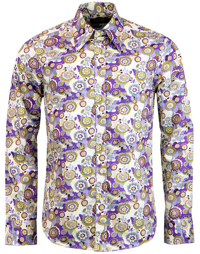 Outlined Flowers CHENASKI 1960s Psychedelic Shirt